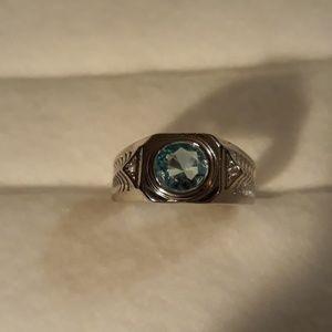 .925 Sterling Silver Men's Aquamarine  Ring
